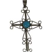 Large Sterling Filagree Cross with Faux Turquoise Stone
