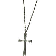 "Sterling Cross Necklace with 16"" Italian Link Chain"