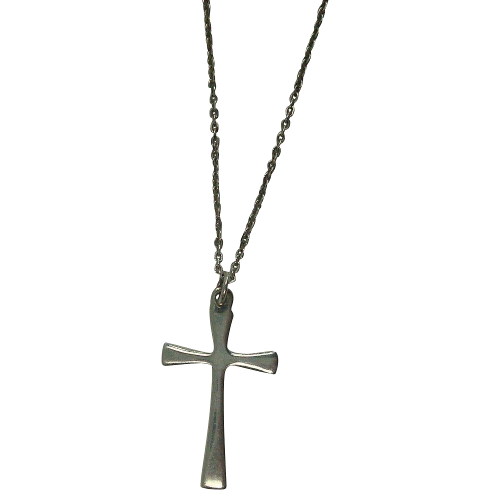 """Sterling Cross Necklace with 16"""" Italian Link Chain"""