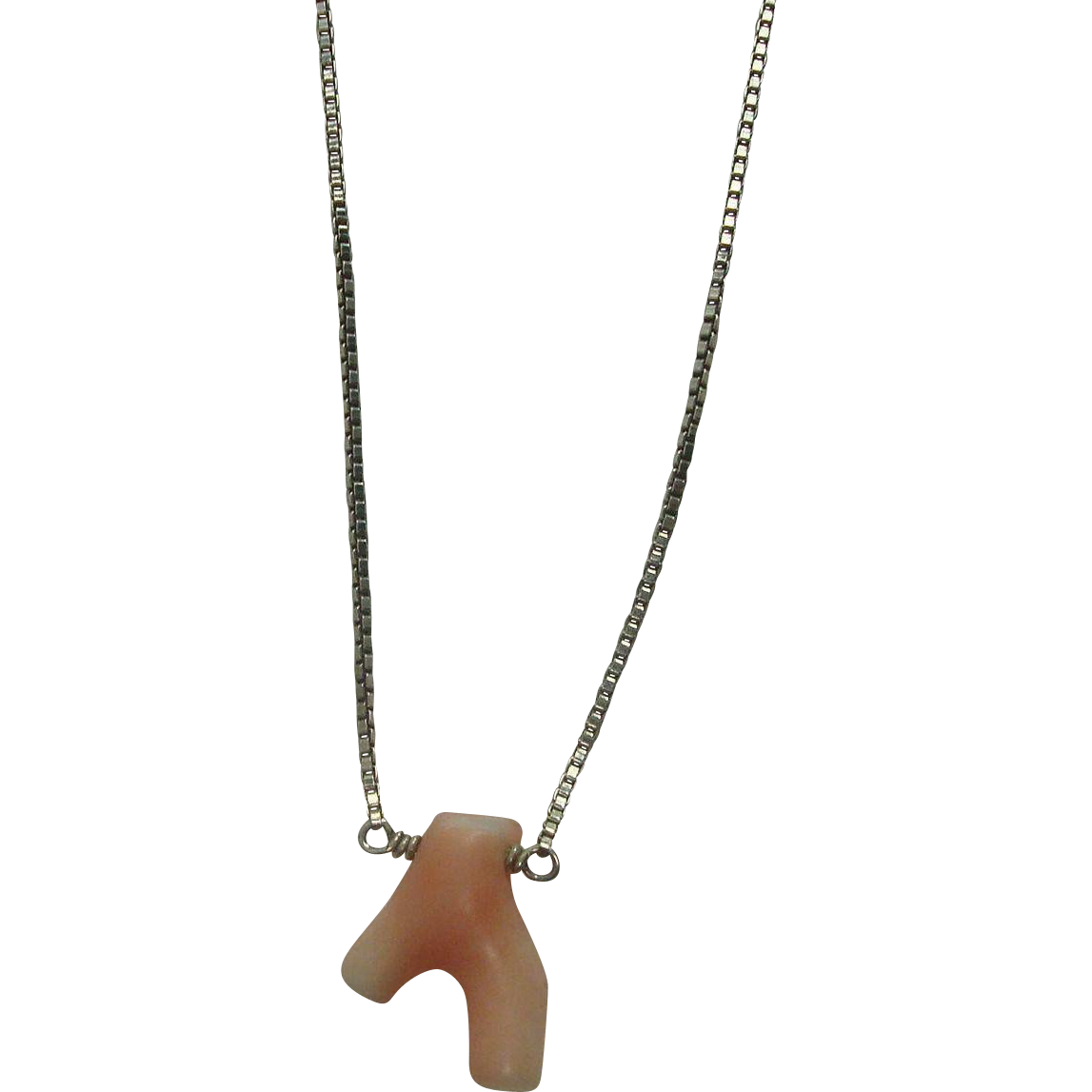 "CLOSEOUT!!! Coral Necklace with 16"" Italian Sterling Box Chain FREE SHIPPING!!"