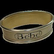 "Silver Portugal Bebe or ""Baby"" Napkin Ring"