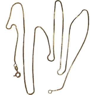 """24"""" Italian Gold over Sterling Silver Box Chain Necklace"""