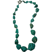 "23"" Chunky Faux Turquoise Necklace"