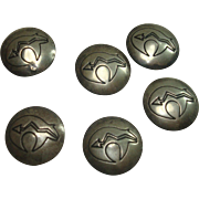 Native American Sterling Bear Fetish Buttons- Set of 6