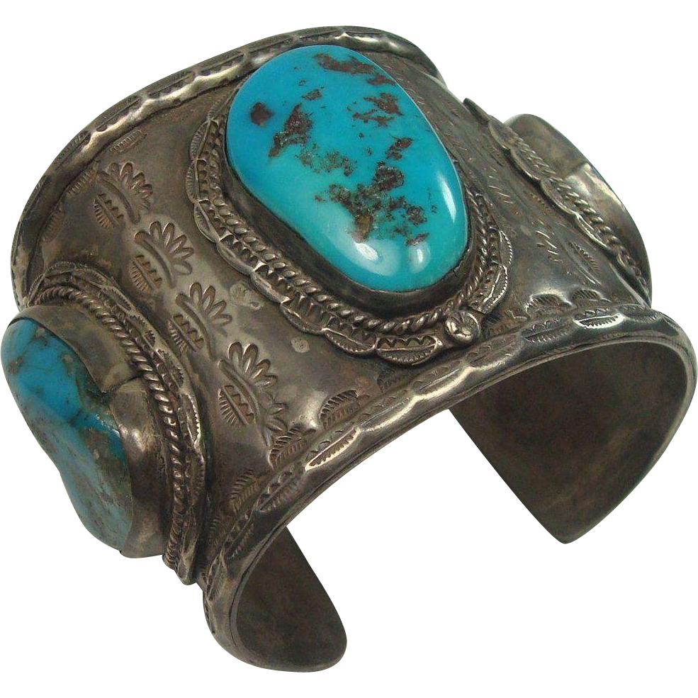 184.9 grams INSANELY HEAVY Navajo  Turquoise and Sterling Cuff Bracelet