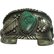 Signed Turquoise Sterling Navajo Cuff Bracelet