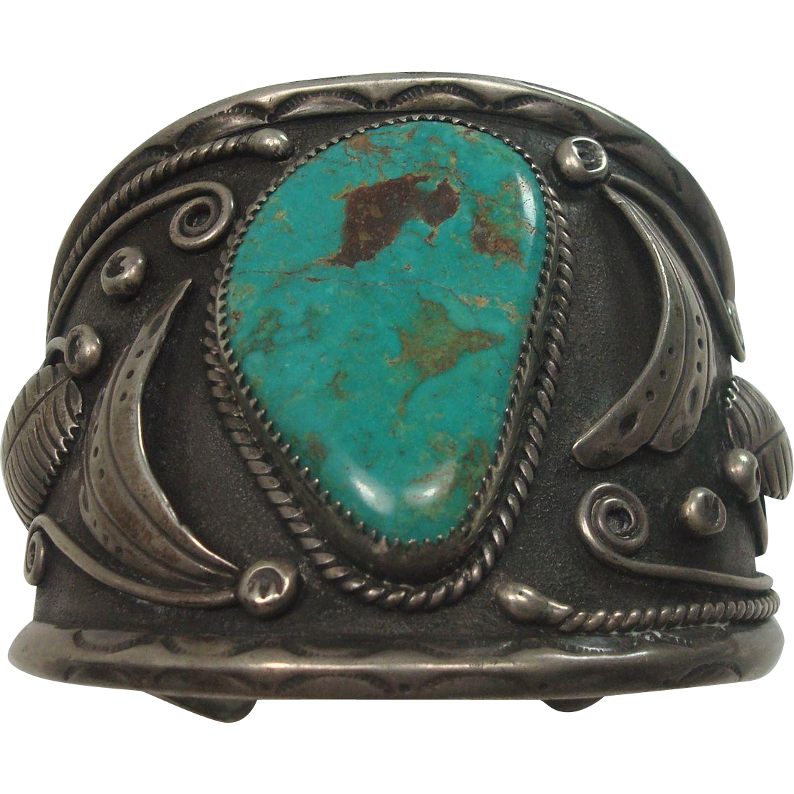 Signed Lorenzo Livingston Turquoise and Sterling Cuff Bracelet 109.5 grams