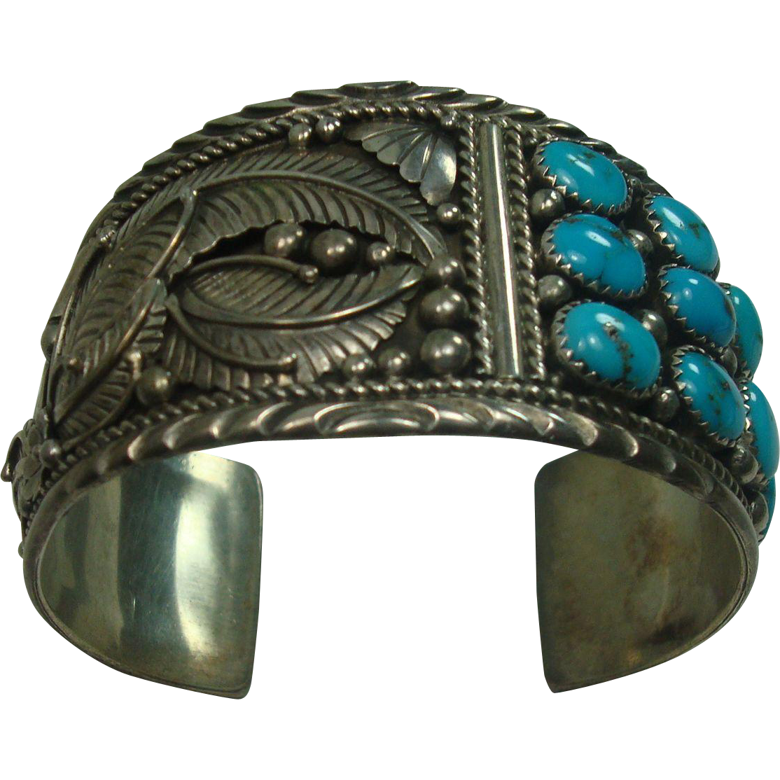 Signed Fannie Platero Ornate Turquoise Sterling Cuff Bracelet
