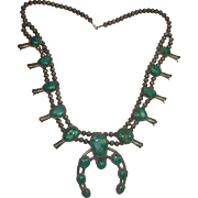 Gorgeous Green Turquoise Squash Blossom Necklace