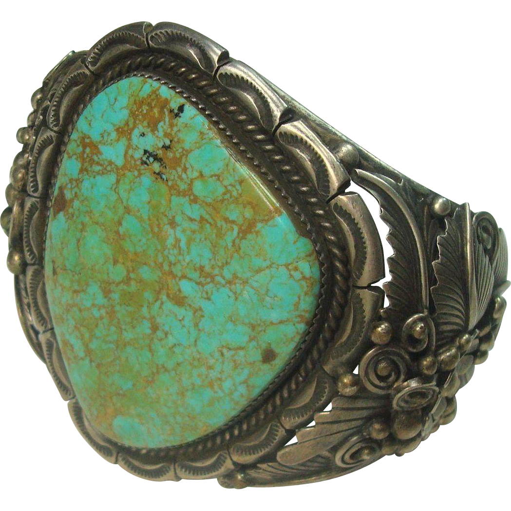 MUSEUM QUALITY-132.3 grams Ornate Signed Jereme Delgarito Turquoise Sterling Cuff Bracelet- MUSEUM QUALITY