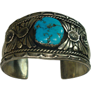 Signed Navajo Turquoise Sterling Cuff Bracelet