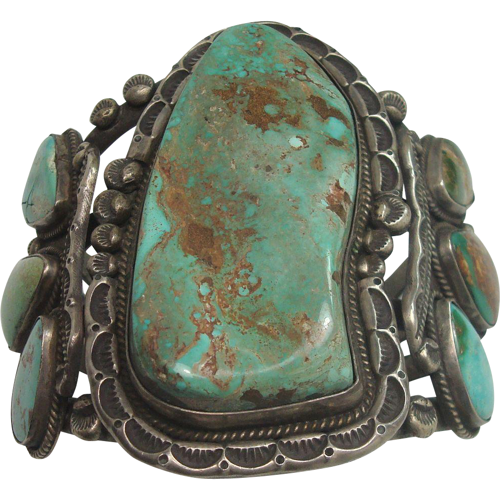 175.2 grams MASSIVE Turquoise Sterling Cuff Bracelet