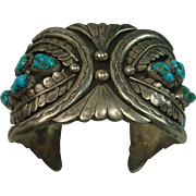 Navajo Turquoise Sterling Heavy Cuff Bracelet