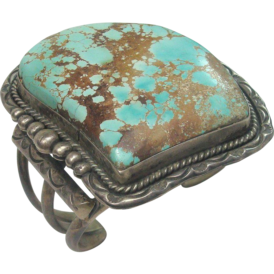 162.4 Grams LARGE Turquoise and Sterling Cuff Bracelet