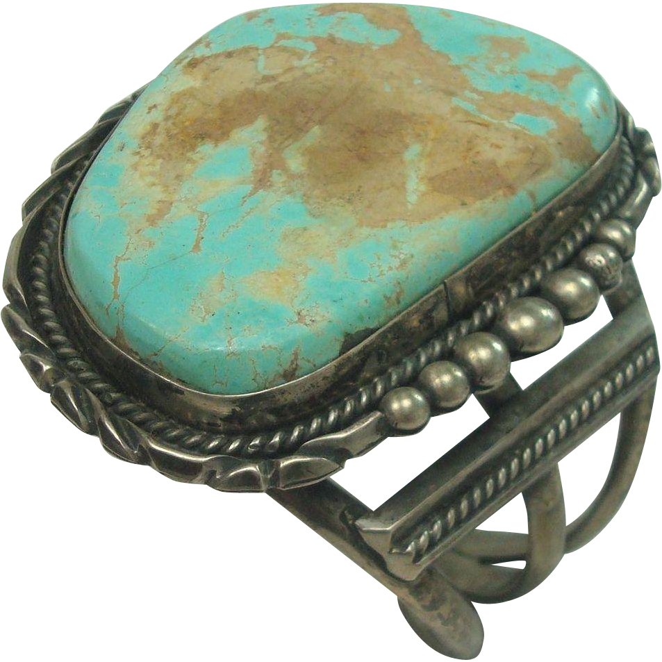 LARGE TURQUOISE Sterling Cuff Bracelet 137.4 Grams!!