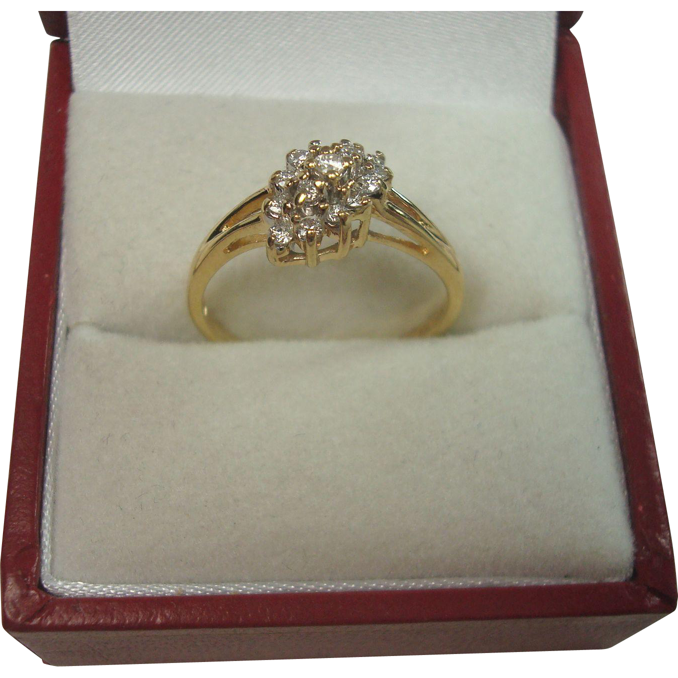 14K Gold .25 ct Diamond Cluster or Cocktail Ring