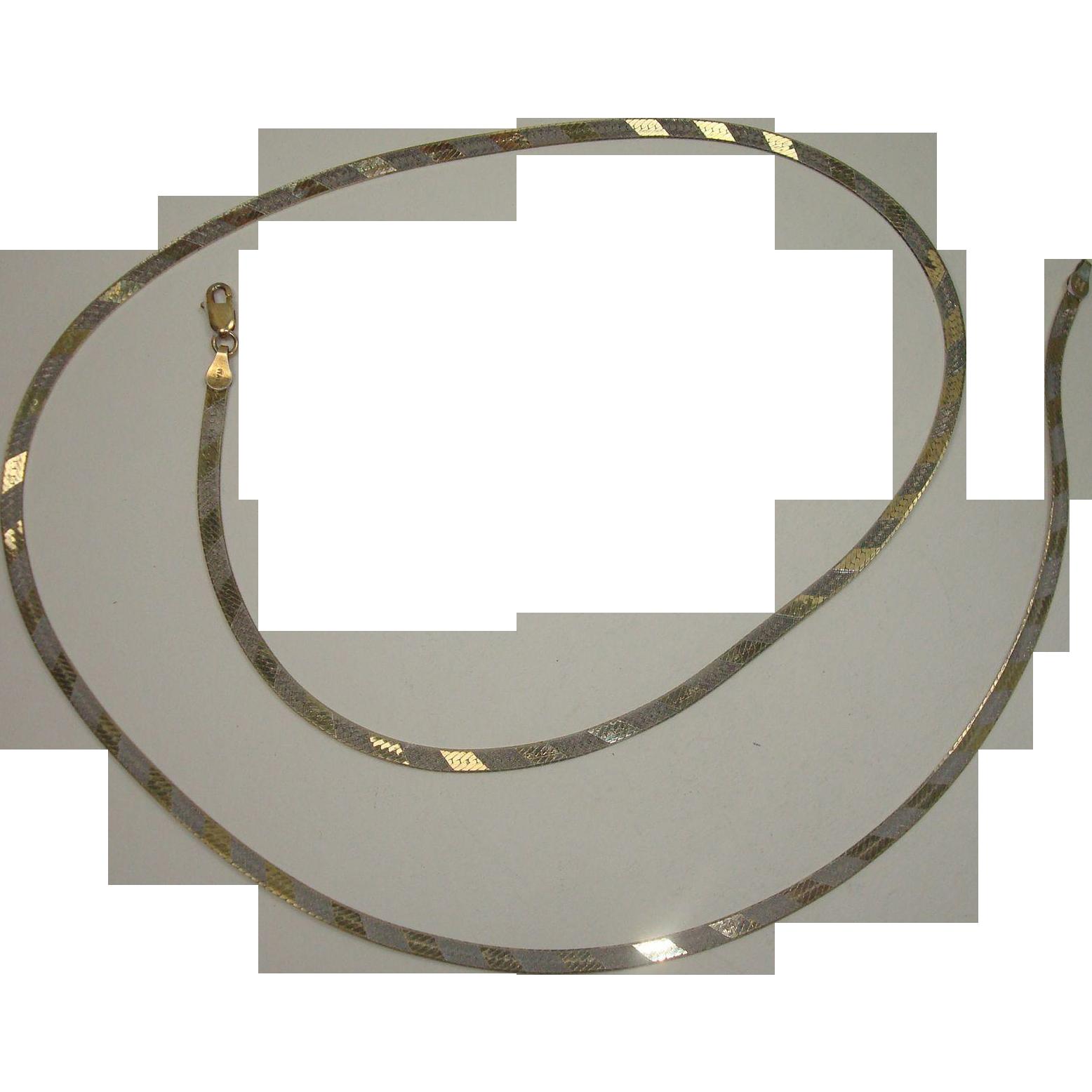 "Reversible Italian Gold over Sterling  Vermeil 26"" Herringbone Necklace"