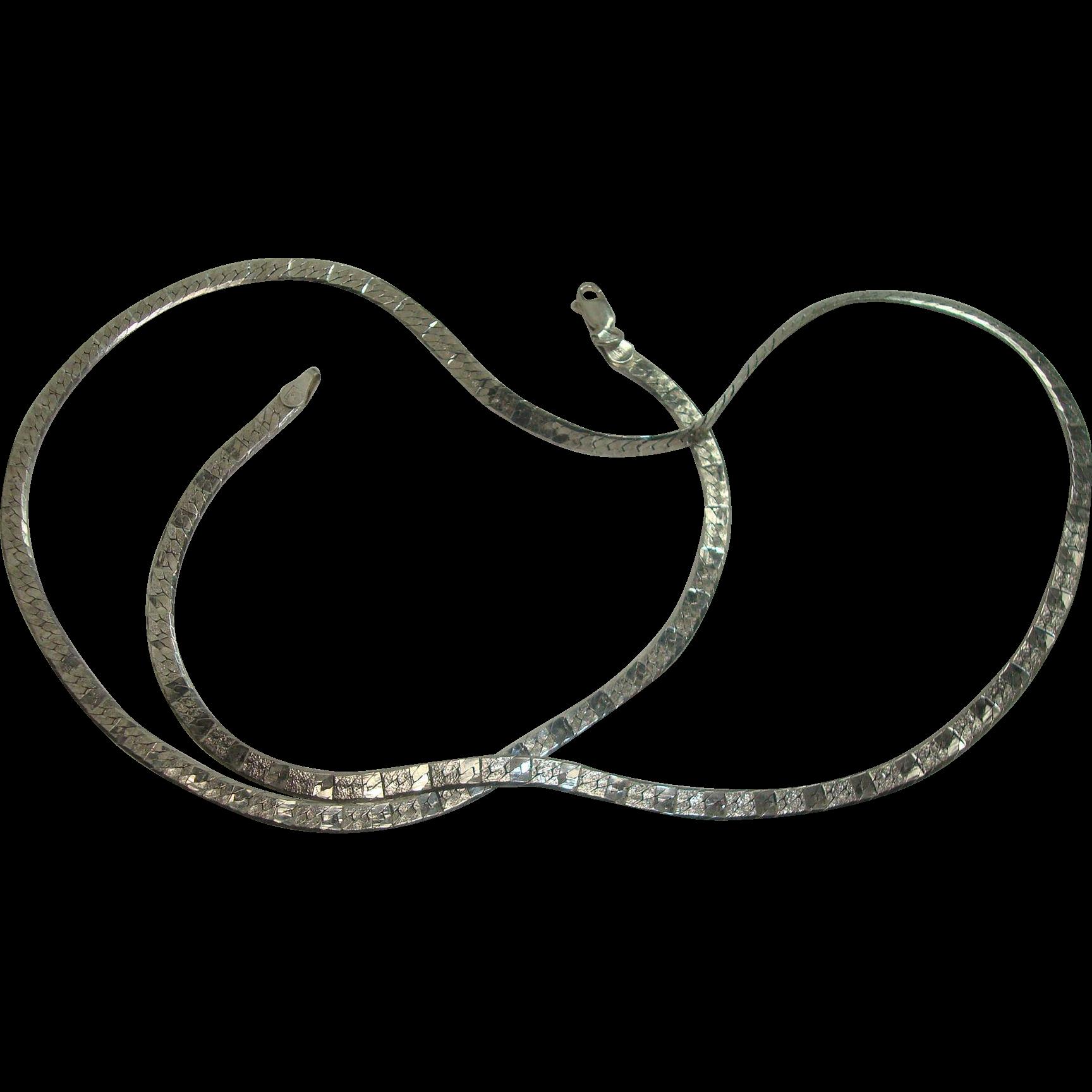 "Italian Sterling 24"" Herringbone Textured Necklace"