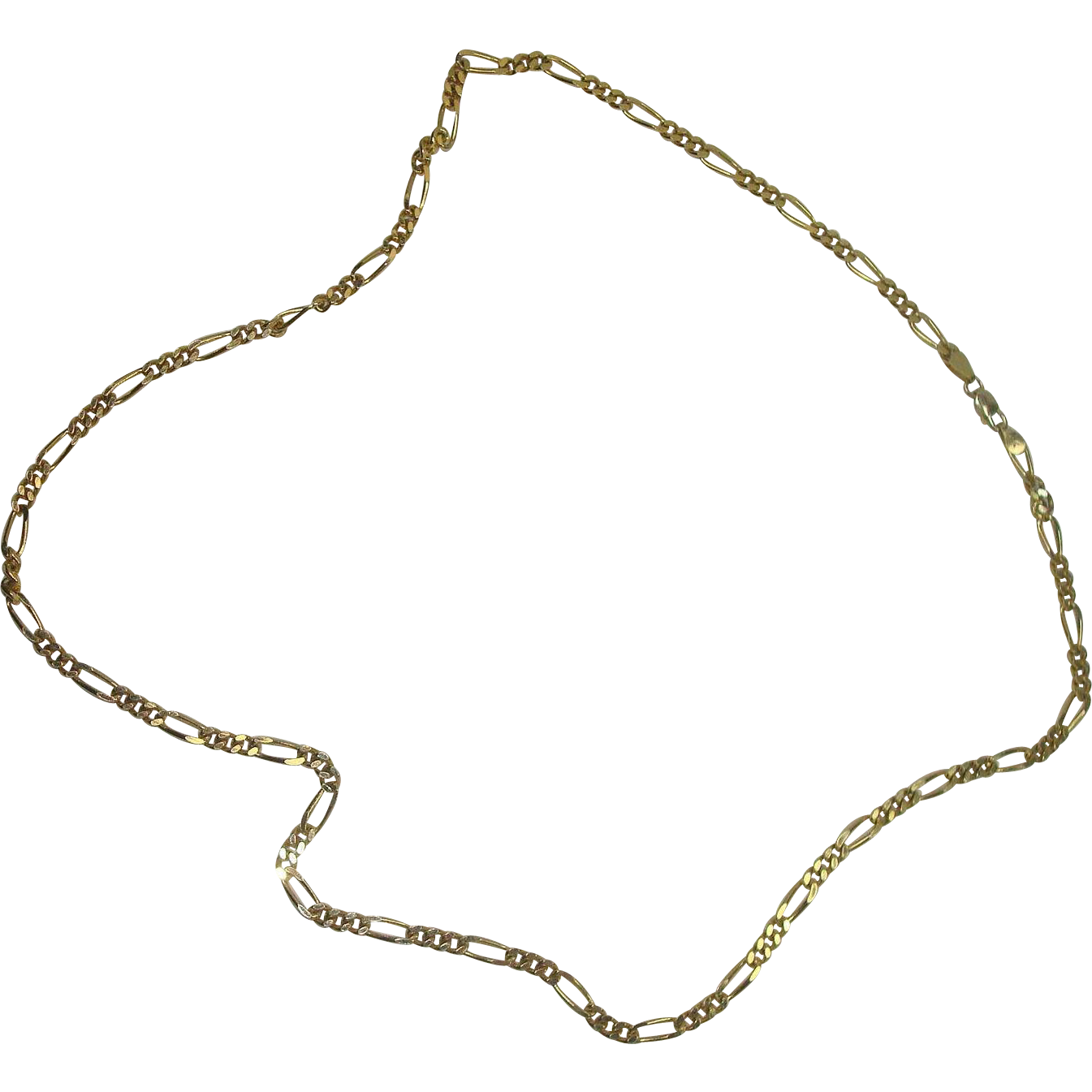 """Italian Gold over Sterling 24"""" Figaro Necklace"""