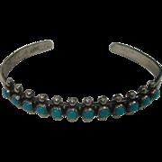 Sterling Petite Point Turquoise Bracelet