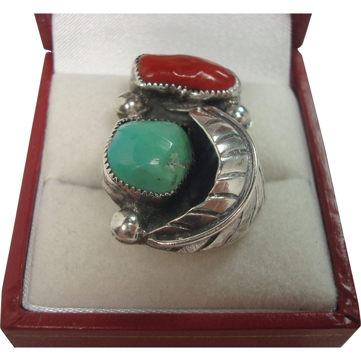 Sterling Turquoise Coral Feather Ring