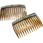 Native American Sterling Topped Hair Combs