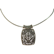 "Sterling Marcasite Slide and 17"" Sterling Cocoon Chain"