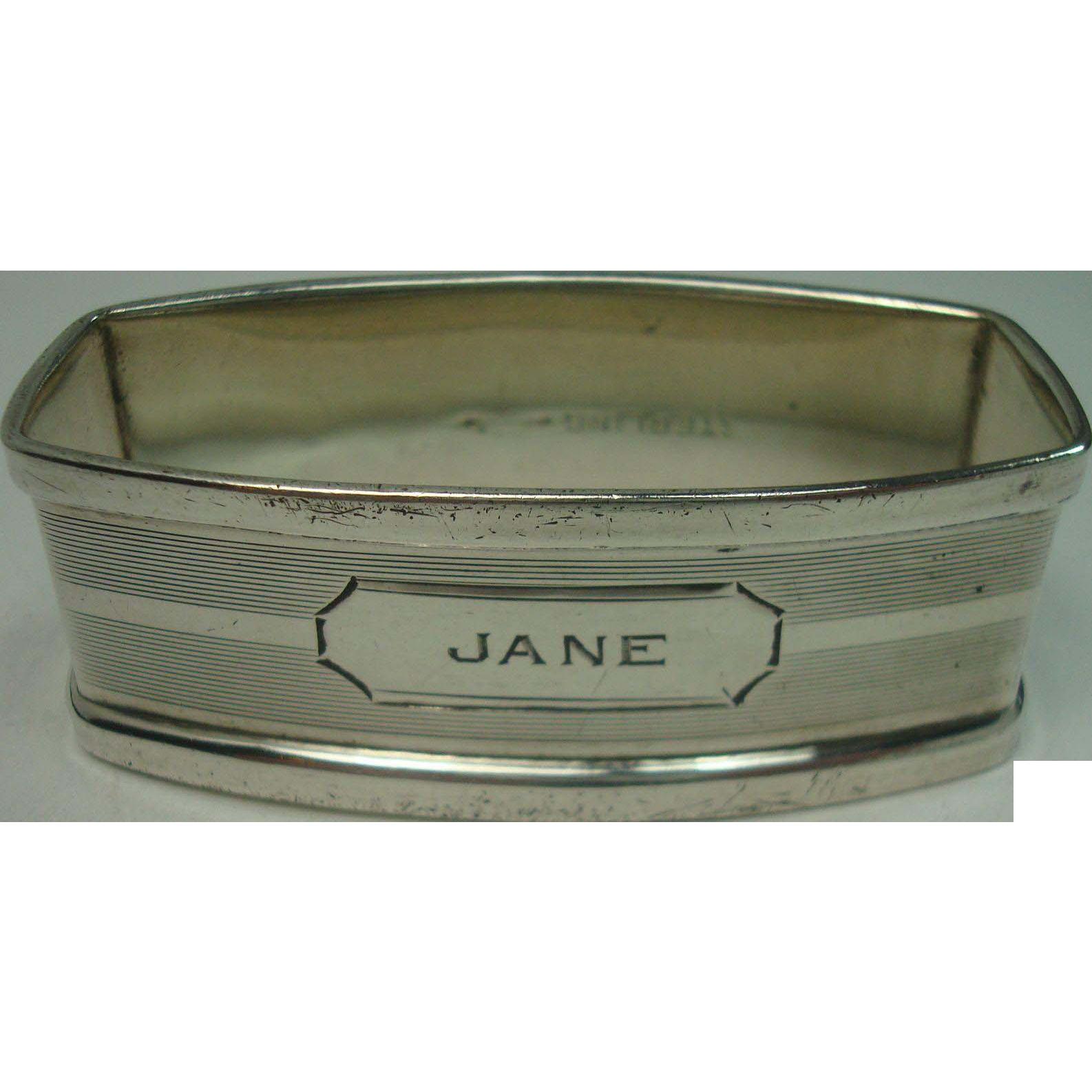 Webster Jane Sterling Napkin Ring