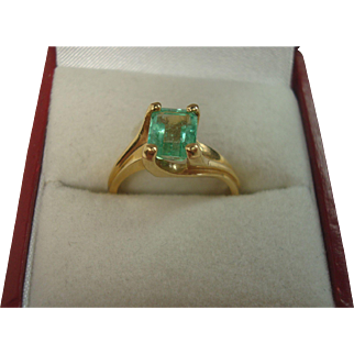 14k Natural Emerald Solitaire
