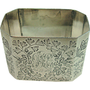 Antique 1892 Sheffield Octagonal Floral and Leaf Sterling Napkin Ring