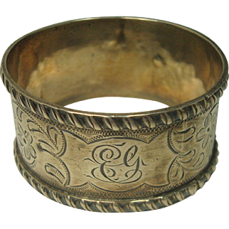 Antique 1899 Minshull & Latimer Sterling Floral and Vine Napkin Ring
