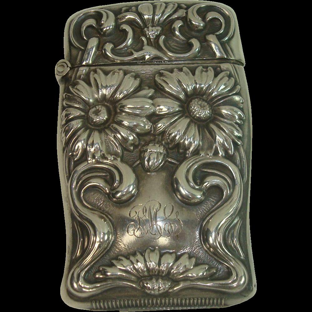 Sterling Art Nouveau Daisy Match Safe or Vesta