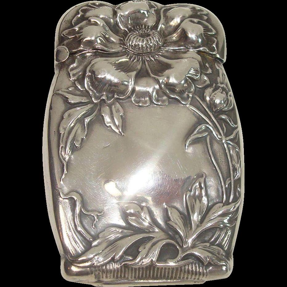 Gorgeous Sterling Floral Art Nouveau Match Safe or Vesta