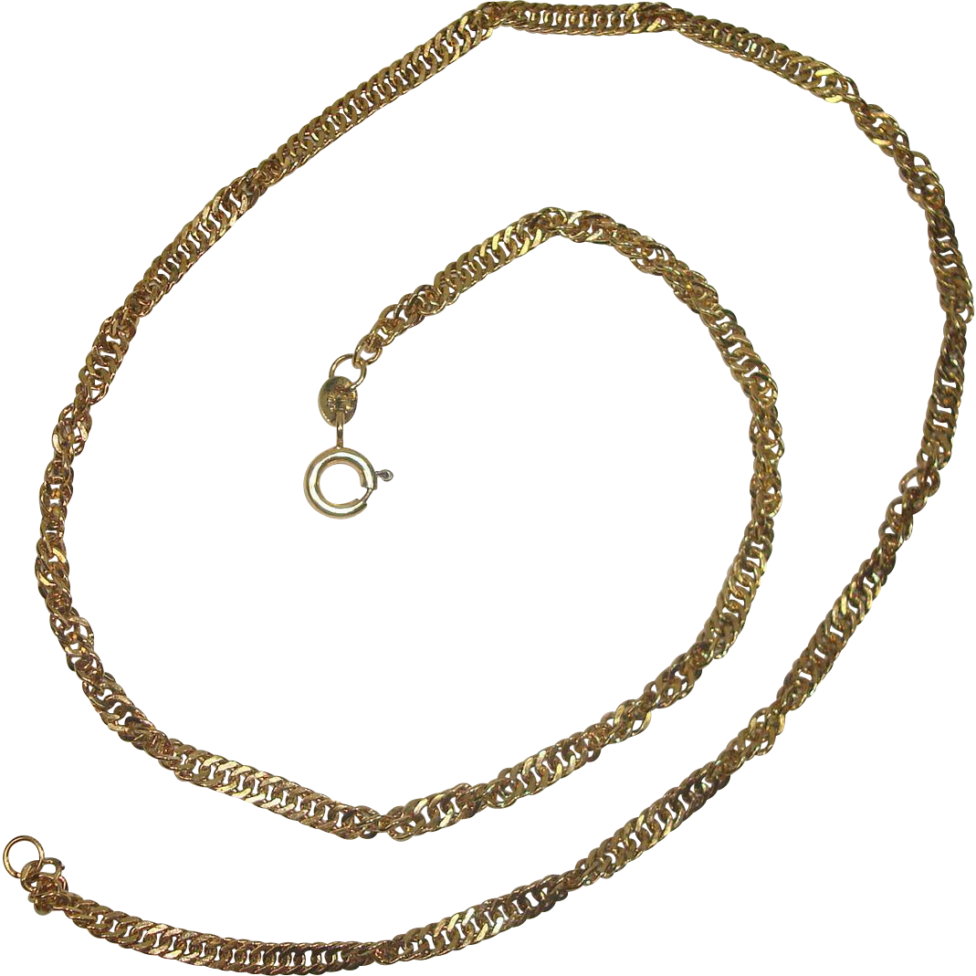Peruvian Gold over Sterling Twist  Curb Link Necklace 18""