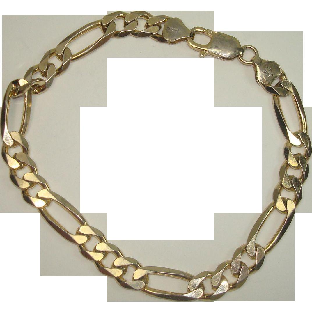 "Italian Vermeil Sterling Figaro 9"" Bracelet"
