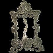 Silver Rococo Ornate Cherub Desk Top Picture Frame