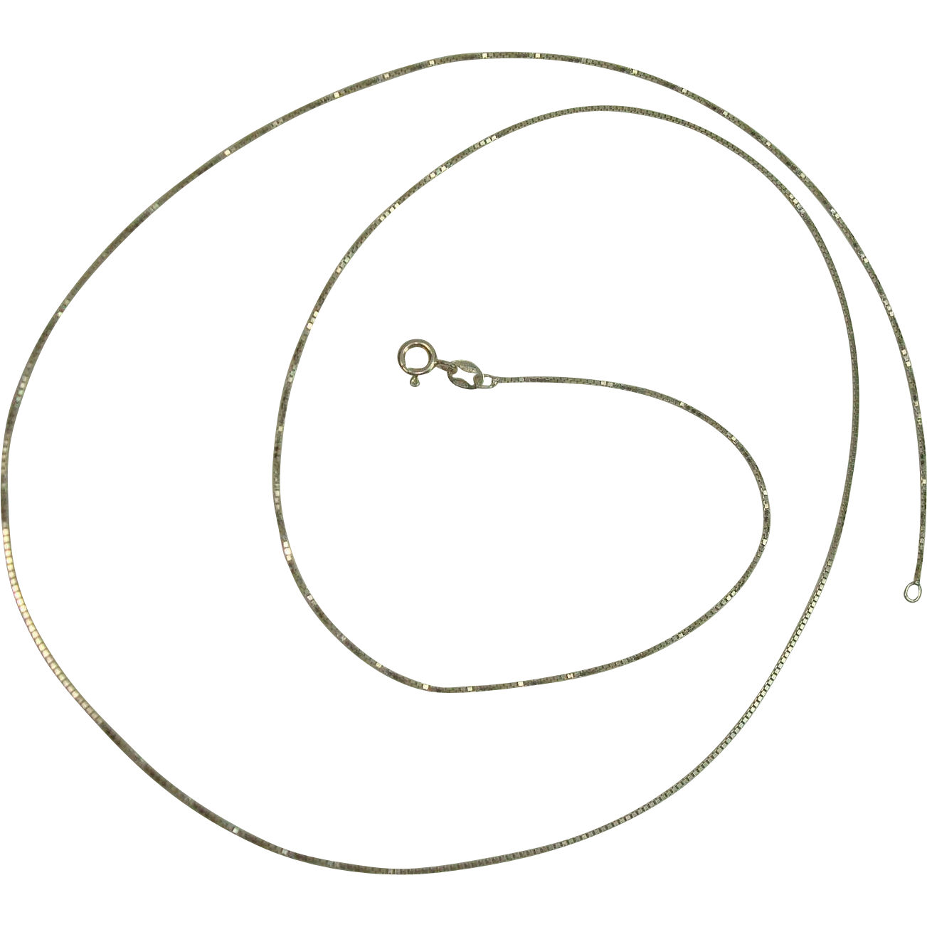 """Italian Sterling 30"""" Box Chain Necklace"""