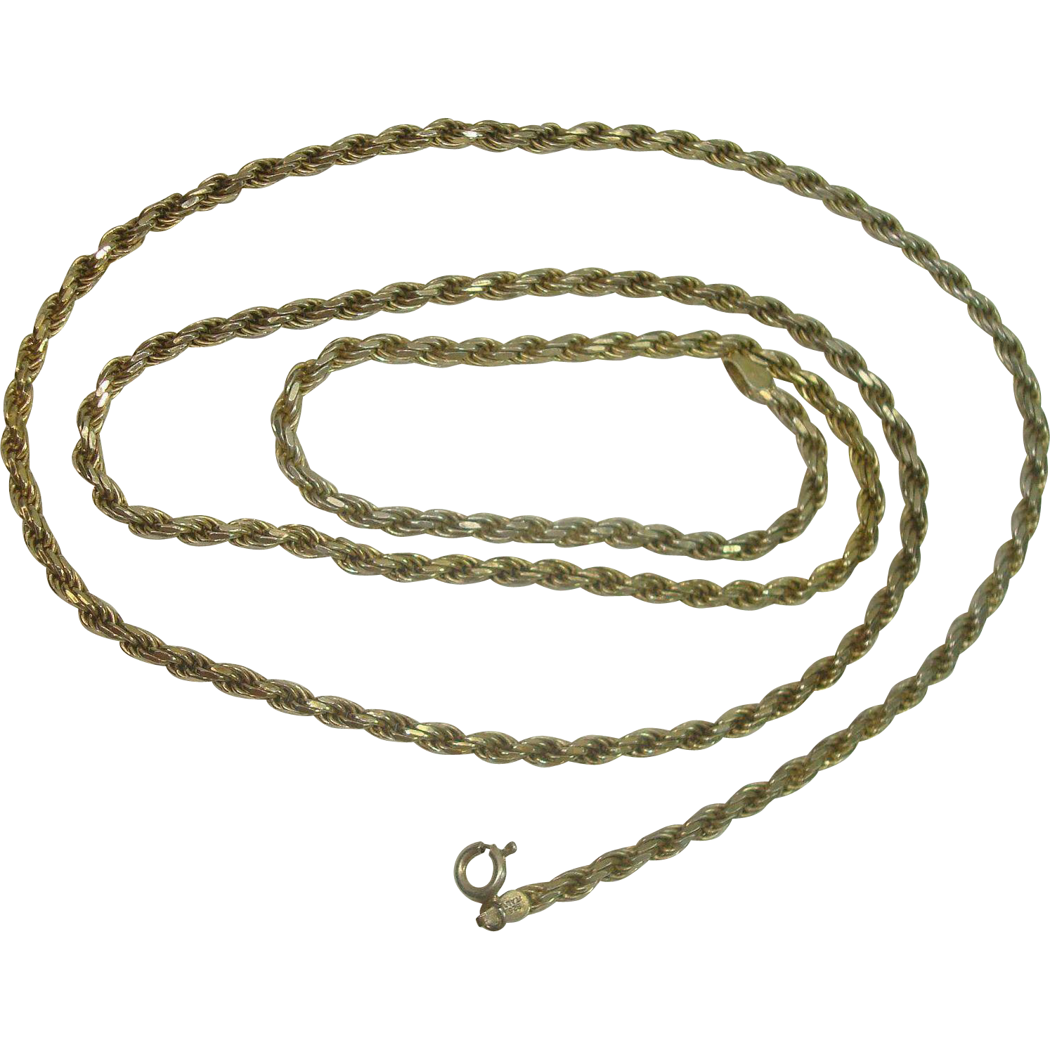 Italian Vermeil Sterling Rope Chain Necklace 30""
