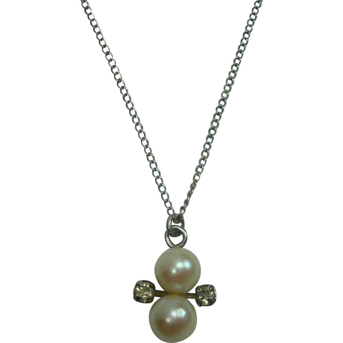 Pearl Rhinestone Sterling Necklace