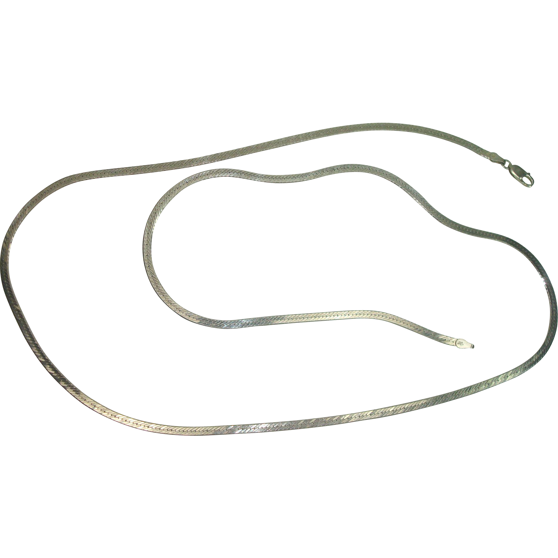 "Italian Sterling 30"" Herringbone Necklace"