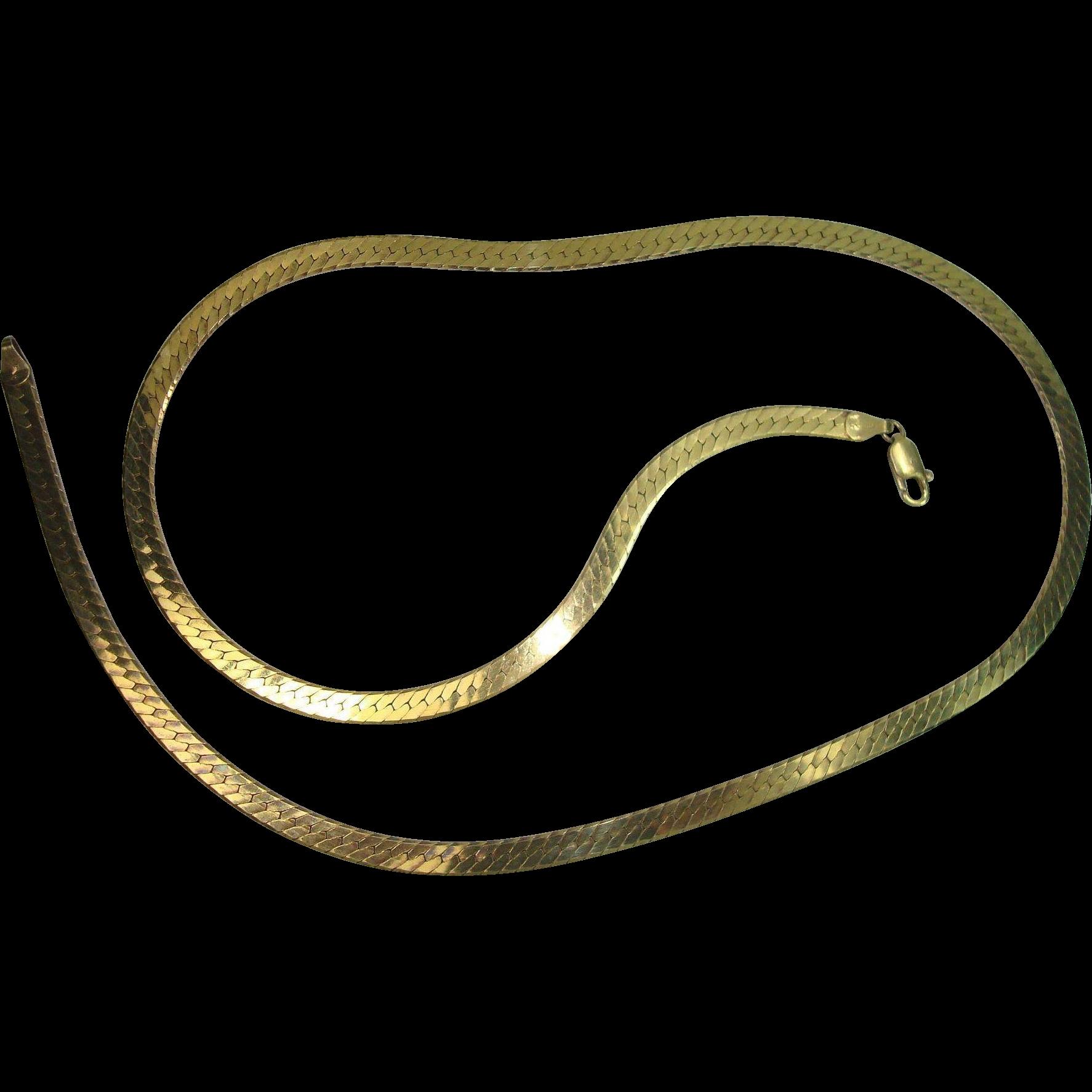 "Italian Vermeil 24"" Herringbone Necklace"