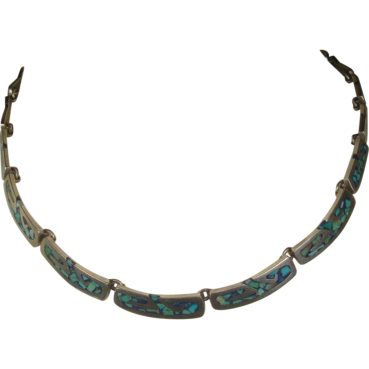 Gorgeous Taxco Sterling Inlaid Turquoise Necklace