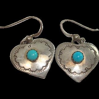 Signed Navajo Sterling Heart Earrings
