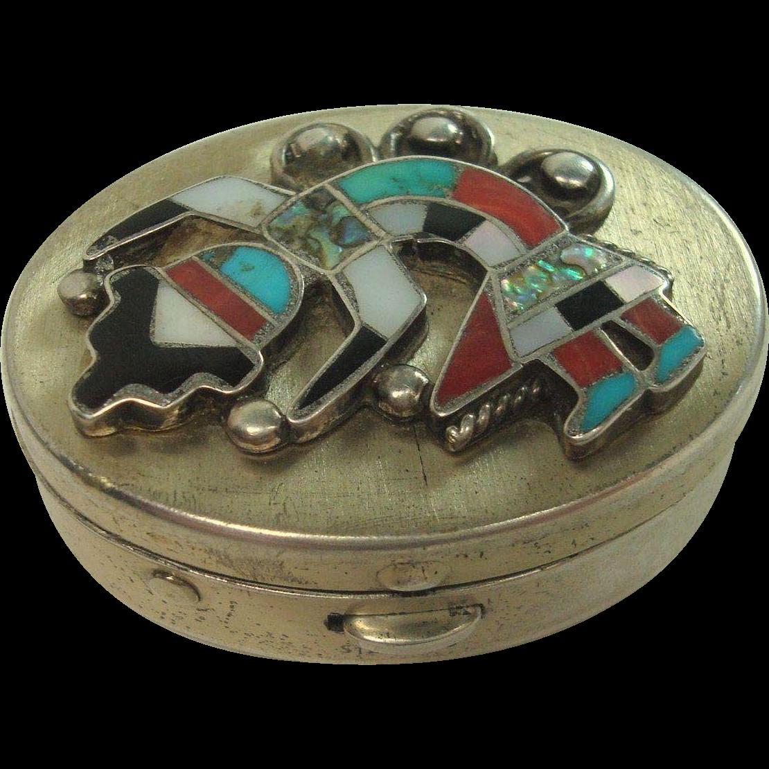 Zuni Dancing Kachina Sterling Pill Box