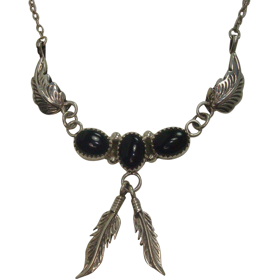 Richard & Rita Begay Navajo Onyx and Feather Sterling Necklace
