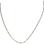 """Italian Sterling 17 3/4"""" Figaro Necklace"""