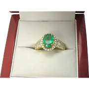18K Emerald (1.11 ct.) and Diamond (.68 cttw.) Ring