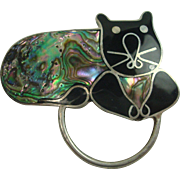Cute Abalone Shell Enameled Cat Pin Alpaca Silver FREE SHIPPING! !!