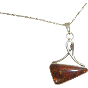 Sterling Baltic Amber Modernist Pendant Necklace