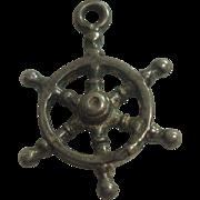 Vintage Sterling Ships Wheel Charm